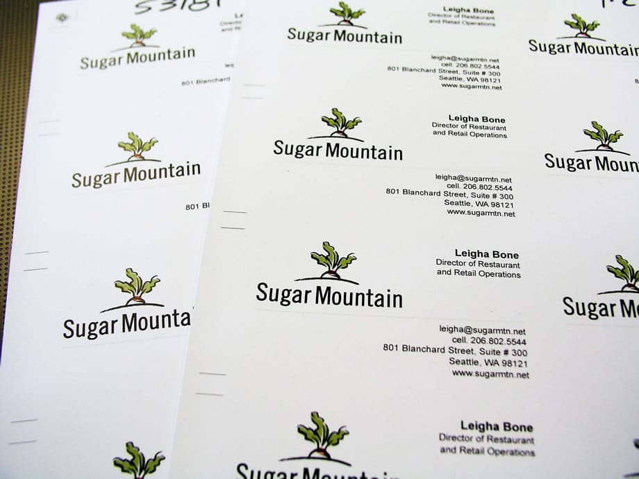 Business Cards Sugar Mountain