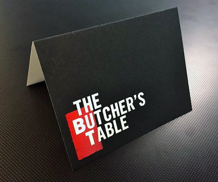 Butchers Table Card - White Ink Printing