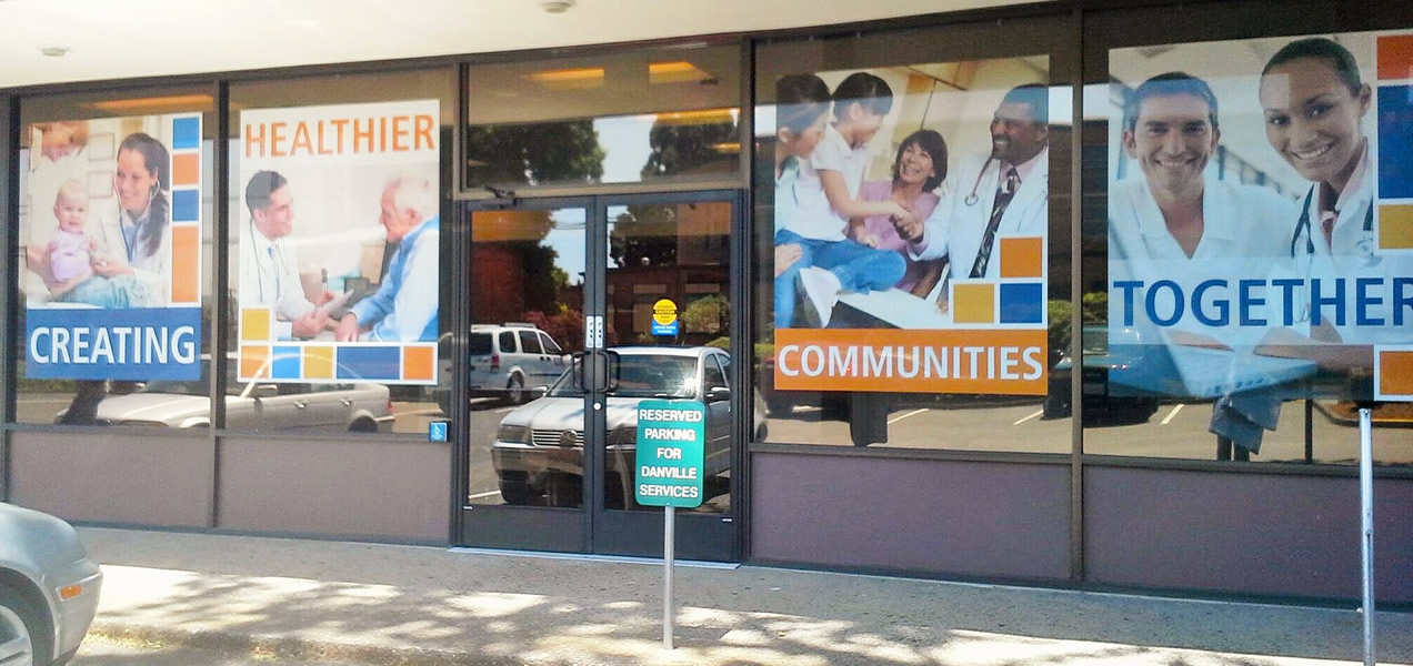 Posters and signs in commercial windows
