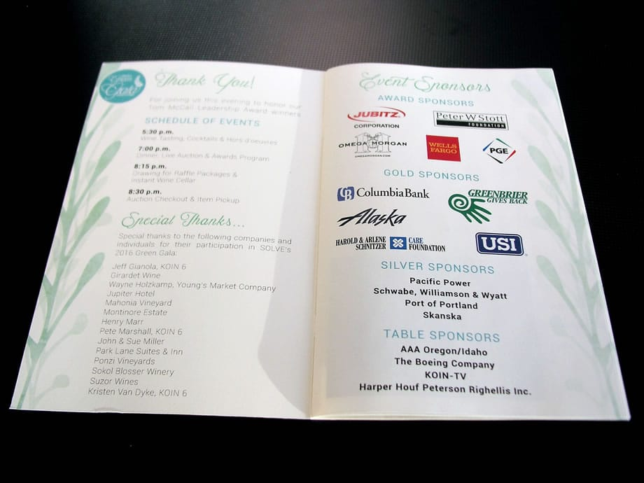 Event Materials - Green Gala Pages