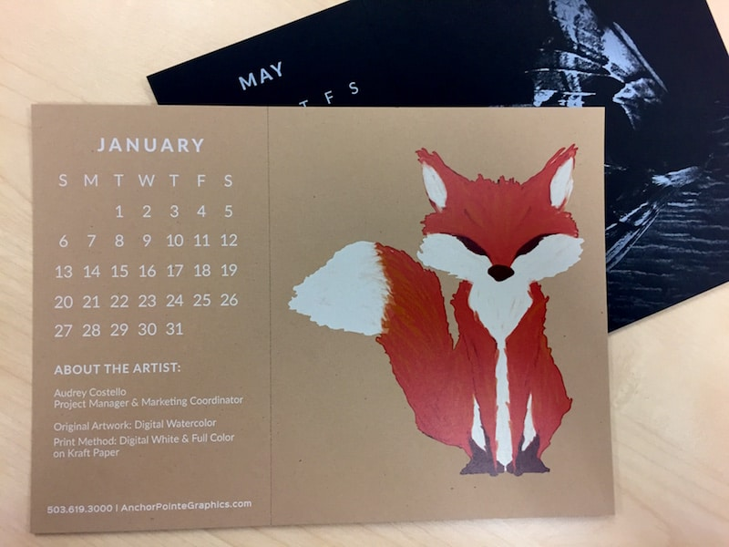 January and May Desk Calendars - cute fox