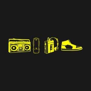 boombox, skateboard, walkman, high tops